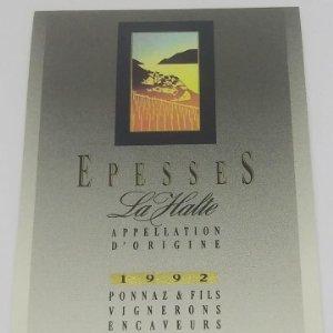 Epesses. La Halte 1992 Ponnaz & fils vignerons encaveurs à cully. Etiqueta impecable 9,8x6,8cm