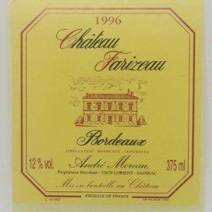 Châteu Farizeau. Bordeaux. André Moreau. Lorient. Sadirac. Etiqueta / pegatina impecable 8x7,4cm