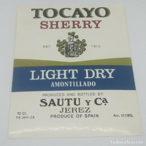 Tocayo. Sherry. Light dry Amontillado. Sautu y cia. Jerez Etiqueta impecable 13x10,5cm