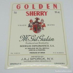 Golden Sherry M. Gil Galán. Bodegas diplomático. Jerez de la frontera. Etiqueta impecable 13x10cm