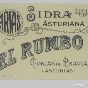 Sidra asturiana El Rumbo. Corias de Pravia. Asturias. Etiqueta impecable 12,3x8,7cm