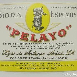 Sidra espumosa Pelayo. Corias de Pravia. Asturias. Etiqueta impecable 12,2x9cm