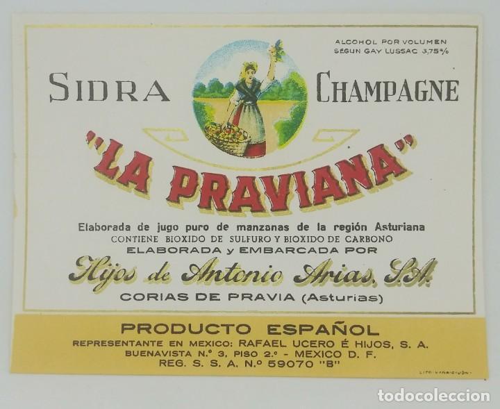 SIDRA CHAMPAGNE LA PRAVIANA. CORIAS DE PRAVIA. ASTURIAS. ETIQUETA IMPECABLE 12,8X9,8CM (Coleccionismo - Etiquetas)