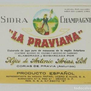 Sidra champagne La Praviana. Corias de Pravia. Asturias. Etiqueta impecable 12,8x9,8cm