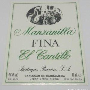Manzanilla Fina El Cantillo. Bodegas Barón. Sanlucar de Barrameda. Etiqueta impecable 12,5x10cm
