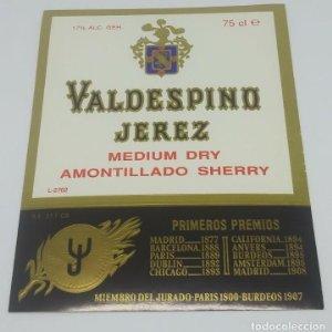 Valdespino Jerez. Medium dry Amontillado Sherry. Primeros premios. Etiqueta impecable 13x10,4cm