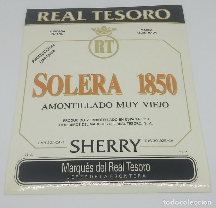 Solera 1980 Sherry. Marqués del real tesoro. Jerez de la frontera. Etiqueta impecable 13x10,5cm