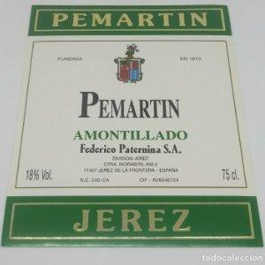 Pematin amontillado. Jerez. Federico Paternina. Jerez de la frontera. Etiqueta impecable 12,5x10cm