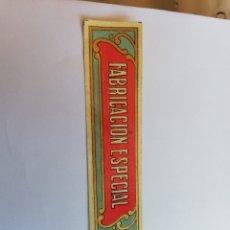 Etiquetas antiguas: ETIQUETA FABRICACIÓN ESPECIAL, SIN USAR. Lote 162360866