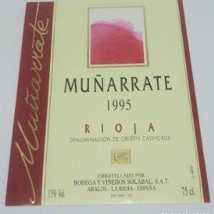 Muñarrate 1995 Rioja. Bodegas y viñedos Solabal. Abalos. La Rioja. Etiqueta impecable