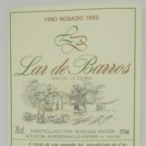 Lar de Barros. rosado 1989. Bodegas Inviosa. Aceuchal. Almendralejo. Etiqueta impecable