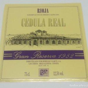 Cedula real. Gran reserva 1982. Heredio Ugarte. Laguardia. Rioja Alavesa.