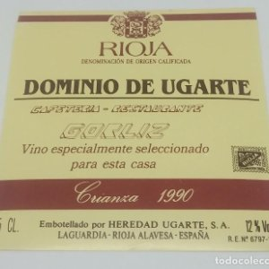 Dominio de Ugarte. Rioja. Crianza 1990. Heredio Ugarte. Laguardia. Rioja Alavesa. Etiqueta impecable