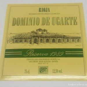 Dominio de Ugarte. Reserva 1989. Heredio Ugarte. Laguardia. Rioja Alavesa. Etiqueta impecable