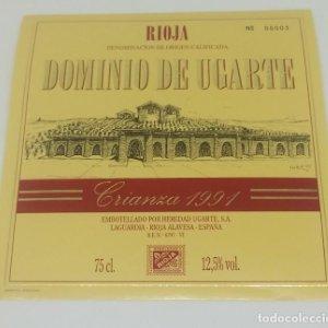 Dominio de Ugarte. Rioja. Crianza 1991. Heredio Ugarte. Laguardia. Rioja Alavesa. Etiqueta impecable