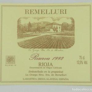 Remelluri. Rioja reserva 1992. La granja Ntra. Sra. de Remelluri. Labastida. Etiqueta impecable