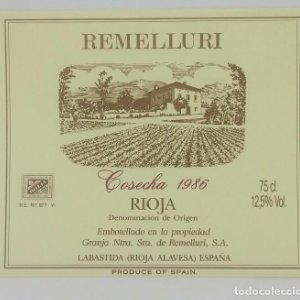 Remelluri. Rioja reserva 1986. La granja Ntra. Sra. de Remelluri. Labastida. Etiqueta impecable