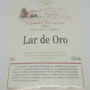Lar de Oro. Valle de la mina. Cabernet Sauvignon 1992. Inviosa. Aceuchal. Almendralejo