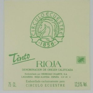 Circulo Ecuestre 1856. Tinto. Rioja. Heredad Ugarte S.A Laguardia. Rioja Alavesa. Etiqueta impecable