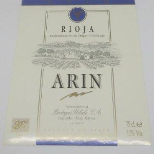 Arin. Rioja. Bodegas Ubide. Laguardia. Rioja Alavesa. Etiqueta nunca pegada en botella