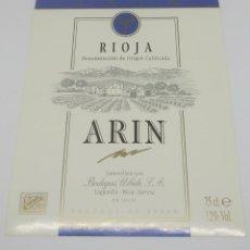 Etiquetas antiguas: ARIN. RIOJA. BODEGAS UBIDE. LAGUARDIA. RIOJA ALAVESA. ETIQUETA NUNCA PEGADA EN BOTELLA. Lote 162381838