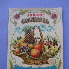 Etiquetas antiguas: ETIQUETA JARABE GRANADINA, FABRICACION DE SUC.DE CALDERON GARCIA - SANTANDER (10X14CM APROX). Lote 162497624