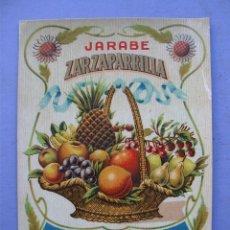 Etiquetas antiguas: ETIQUETA JARABE ZARZAPARILLA, FABRICACION DE SUC.DE CALDERON GARCIA - SANTANDER (10X14CM APROX). Lote 162497781