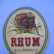 Etiquetas antiguas: ETIQUETA RHUM DE LA JAMAIQUE, FABRICACION DE JOSE CALDERON GARCIA - SANTANDER (12X10CM APROX). Lote 162497858