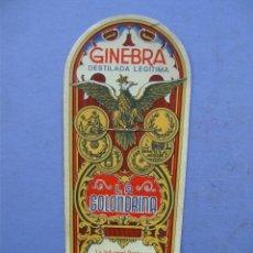 Etiquetas antiguas: ETIQUETA GINEBRA GOLONDRINA - EDUARDO GARCIA - REAL DE MONTROY (15X6,5CM APROX). Lote 162498238