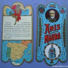 Etiquetas antiguas: DOBLE ETIQUETA ANIS MAURA - IMPECABLE - 11X5CM APROX. Lote 162498320