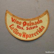 Etiquetas antiguas: ETIQUETA VINO QUINADO NTRA SEÑORA LA BIEN APARECIDA - CALDERON (3X6,5CM APROX). Lote 162498529