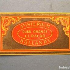 Etiquetas antiguas: ETIQUETA DUBB ORANGE CURACAO AMSTERDAM HOLLANDE (4,5X8,5CM APROX). Lote 162498818