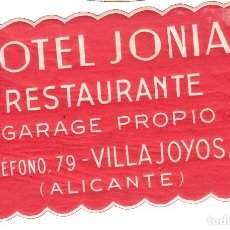 Etiquetas antiguas: ETIQUETA HOTEL JONIA EN VILLAJOYOSA - ALICANTE. Lote 162513642