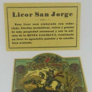 Licor Sant Jordi. Licor San Jorge. Destilerías Lladó. Arenys de Munt. Lote de 3 etiquetas