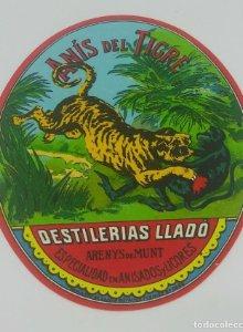 Anis del Tigre Destilerías Lladó. 7,7x6,3cm