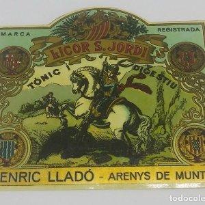 Licor Sant Jordi. Tònic i digestiu. Enric Lladó. Arenys de Munt 8,5x7,6x5cm
