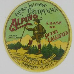 Gran licor estomacal Alpino a base de quina Callisaya. Enrique Lladó. Arenys de Munt 3,7x2,9cm