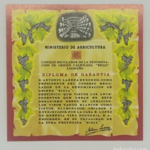 Rioja. Diploma de garantía. Ministerio de agricultura. Logroño. Etiqueta impecable 7x7cm