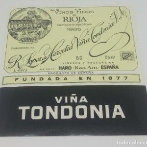R. Lopez de Heredia S.A. Viña Tondonia 1985 Haro. Rioja. Etiqueta impecable 12x10,8cm