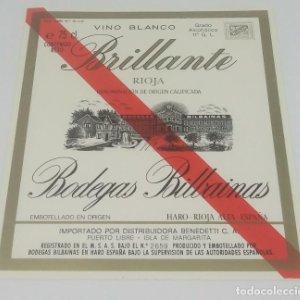Brillante. Vino blanco. Rioja. Bodegas Bilbainas. Etiqueta impecable 12x10,4cm