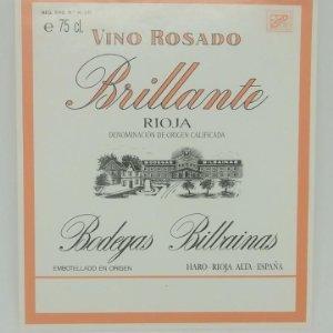 Brillante. Vino rosado. Bodegas Bilbainas. Haro. Rioja. Etiqueta impecable 12x10,5cm