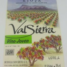 Etiquetas antiguas: VALSIERRA. VINO JOVEN. BODEGAS SAN SIXTO. YECORA. RIOJA ALAVESA. ETIQUETA IMPECABLE 12,5X8,3CM. Lote 162685762