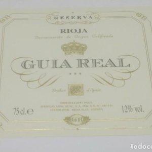 Guia real. Rioja reserva. Bodegas Guia Real. Fuenmayor. Rioja Alta.. Etiqueta impecable 11x9cm