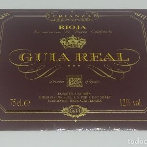 Guia real. Rioja crianza. Bodegas Guia Real. Fuenmayor. Rioja Alta.. Etiqueta impecable 11x9cm