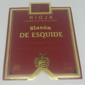 Blasón de Esquide. Reserva 1990. Castillo de Fuenmayor. Rioja Alta.. Etiqueta impecable 13x10cm