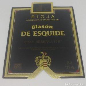 Blasón de Esquide. Gran Reserva 1987 Castillo de Fuenmayor. Rioja Alta.. Etiqueta impecable 13x10cm