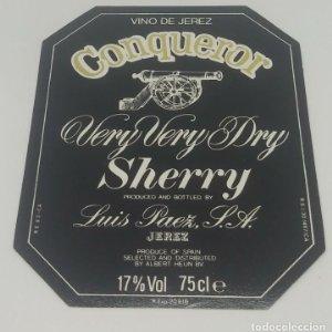 Conquer. Vino de Jerez. Sherry, Luis Paez. Etiqueta impecable 11,4x9cm