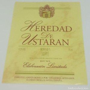 Heredad de Ustaran. Rioja, Viñadores artesanos. Elciego. Rioja Alavesa. Etiqueta impecable 12x9,7cm