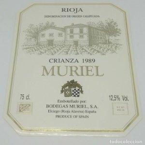 Muriel. Crianza 1989. Bodegas Muriel. Elciego. Rioja Alavesa. Etiqueta impecable 13x10,4cm
