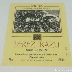 Perez Irazu. Vino joven. Elvillar. Rioja Alavesa. Etiqueta impecable 12,5x10,5cm